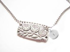 Owl Initial Hand Stamped Necklace Ball Chain Engraved