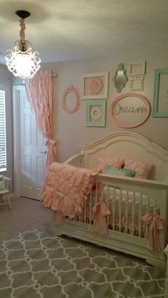 Nursery vintage shabby chic pink and mint green by Stanton Interior Decorating and Staging in West Chester Ohio