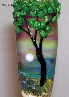 WSTGA~MOONRISE~TREE FLORAL FOCAL European charm handmade lampwork glass bead SRA