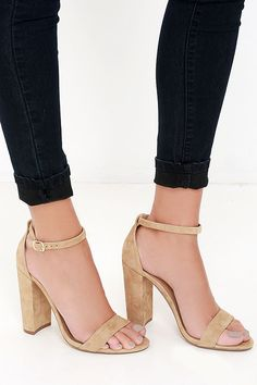 Love these Steve Madden Carrson Sand Suede Leather Ankle Strap Heels!!!