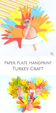 Make a Paper Plate Handprint Turkey Craft with the kids this Thanksgiving. A fun and interactive craft idea for kids that's perfectly suited to fall and  Thanksgiving crafting. Can be completed with a printable turkey template! Thanksgiving Crafts for Kids   Turkey Crafts for Kids Hand Turkey Craft, Thanksgiving Crafts For Toddlers, Kids Crafts, Thanksgiving Ideas, Kids Diy, Turkey Template, Printable Turkey, Turkey Handprint, Easy Arts And Crafts