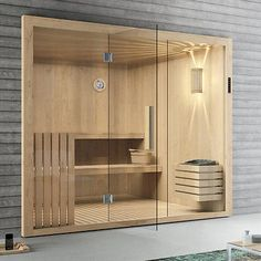 Elementsauna Tanne mit Glasfront 246 x 192 cm Sauna mit Glas inkl. Modern Saunas, Modern Pools, Sauna Steam Room, Sauna Room, Modern Bathroom Design, Bathroom Interior Design, Sauna Wellness, Piscina Spa, Sauna Accessories