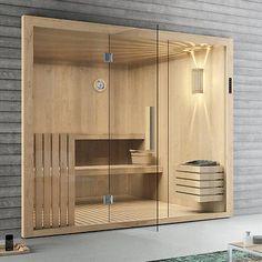 Elementsauna Tanne mit Glasfront 246 x 192 cm Sauna mit Glas inkl.