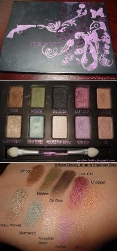 Urban Decay Ammo Shadowbox Palette :: $12, Retail $38 | HauteLook.com :: [0.3 oz. total] SMOG (deep copper bronze, MILDEW (mossy grn/gold shift), OIL SLICK (blk/silver microglitter), LAST CALL (metallic sugar plum), CHOPPER (copper/silver microglitter), MAUI WOWIE (metallic golden beige/silver glitter), SHATTERED (turquoise w/ gold shift), POLYESTER BRIDE (wht snow/silver microglitter), GRIFTER (sheer lavender/silver microglitter), SIN (champagne) :: Arranged in duos. | #productrater