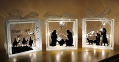 Home Design Christmas Decorating Ideas With Glass Blocks Nativity Silhouette Glass Blocks! : christmas decorating ideas with glass blocks Home Design Ideas Gallery : [Cqjypm. Christmas Glass Blocks, Christmas Nativity, Christmas Ornaments, Christmas Signs, Christmas 2017, Christmas Christmas, Decorative Glass Blocks, Lighted Glass Blocks, Vinyl Crafts
