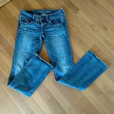 American Eagle jeans Regular cut. Dark wash, open pockets, good bottoms. American Eagle Outfitters Jeans