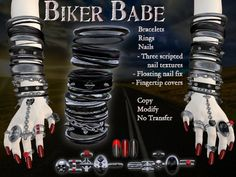 :*:CPD:*: Biker Babe Nails, Rings, & Bracelets Set