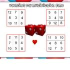 For up to 4 players. Students take turns rolling the dice. They multiply the numbers and cover the answer on their game board with the heart. The f...