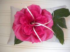 Hot Pink Rose Ring Bearer Pillow by DaniCalve on Etsy, $22.00