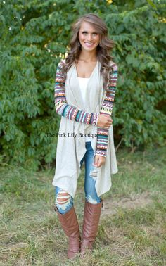 The Pink Lily Boutique - Cherokee Chica Tan Aztec Cardigan , $40.00 (http://thepinklilyboutique.com/cherokee-chica-tan-aztec-cardigan/)
