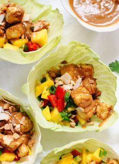 Mango tofu salad wraps with peanut sauce - cookieandkate.com