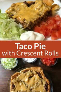 Easy Taco Pie is a fun twist on traditional tacos. The crescent rolls for a crust make the recipe more filling than regular tacos and this is an easy meal to make for our family. Ground beef with taco seasoning covered in cheese is made better when served on a crescent roll crust! When the calendar is full and we are watching the budget we all need some cheap and EASY meals like this Taco Pie. Cooking With Ground Beef, Ground Beef Recipes, Crescent Roll Recipes, Crescent Rolls, Cheap Easy Meals, Simple Meals, Best Mexican Recipes, Ethnic Recipes, Taco Pie