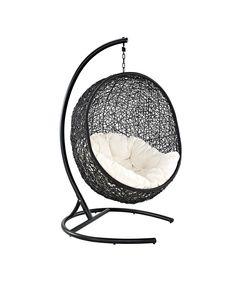Cool teen room chair! Espresso & White Encase Swing Chair