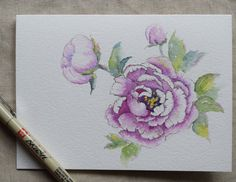 Purple Peony Watercolor Painted Card Landscape by SunsetPeonies