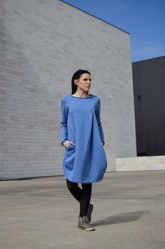 Blue dress // Maternity Deep Blue Cotton Dress // Long Sleeve Dress // Plus Size Dress // Shirt Dress // Cozy // Warm // Heavy Duty Warm Dresses, Cotton Dresses, Blue Dresses, Maternity Dresses, Deep Blue, Normcore, Dress Long, Plus Size, Shirt Dress