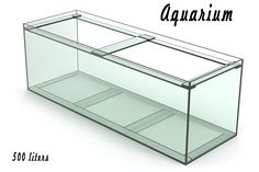 Photorealistic model of a glass aquarium. The model corresponds to the technology of glass aquariums.