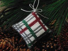 Christmas Plaid Mini Pillow Ornament, Needlepoint Ornament, Needle Art Pillow, Holiday Decor, Garland Decor, Wreath Decor by BunniesMadeOfBread on Etsy