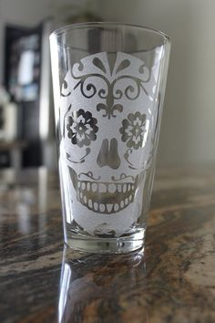 idea to do a sugar skull etching on a large hurricane size jar