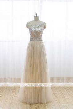 Elegant champagne A-Line/princess Scoop Neck Floor Length Tulle prom dresses with Beaded Open Back  -  $155.00 Form https://www.everisa.com/elegant-champagne-a-line-princess-scoop-neck-floor-length-tulle-prom-dresses-with-beaded-open-back