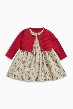 Buy Red/Oatmeal Print Dress And Cardigan Set (0-18mths) from the Next UK online shop
