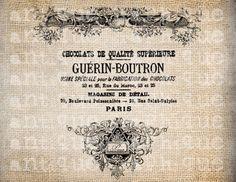 Antique French Paris Chocolate Label Ornate by AntiqueGraphique