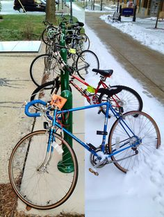 Abbottsford Hall bicycle rack, before and after the first 2012 snowfall on Marquette University's campus.