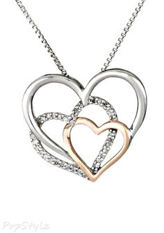 Pink Gold and Diamond Triple Heart Necklace