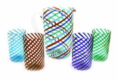 Four Color Striped Pitcher and Tumbler Set