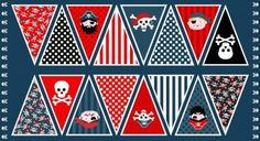 PIRATES Bunting Panel Cotton fabric Makower Size 110 cm x 60 cm- to make up Pirate Quilt, Pirate Treasure, Treasure Maps, Fabric Bunting, Fabric Decor, Andover Fabrics, Boys Room Decor, Pirate Party, Pirates