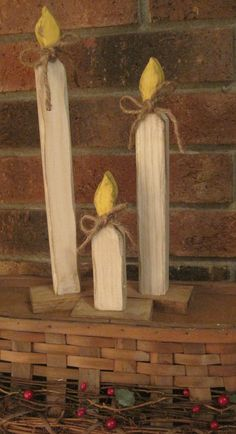 Primitive Christmas Candles Wooden Rustic Decoration Country Handpainted