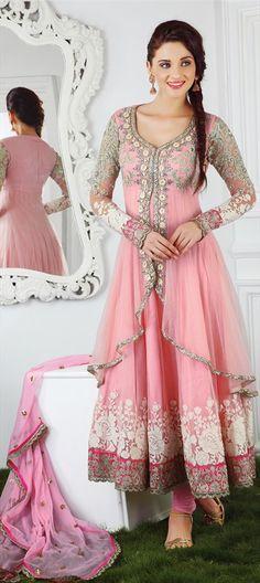 400229, Party Wear Salwar Kameez, Net, Satin, Sequence, Cut Dana, Resham, Stone, Bugle Beads, Pink and Majenta Color Family