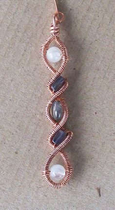 MultiStone Wirewrapped Copper Twist Pendant by AngelsBeadedPoetry, $25.00
