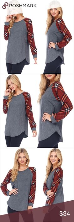 """Darling Plaid Sleeve Soft Tunic Top SML Love this twist on plaid! Charcoal gray bodice with french terry plaid sleeves. Soft & stretchy tunic 82% polyester - 15% rayon - 3% spandex. Made in USA Small 2/4 Bust 32-34-36 Length 27"""" Med 6/8 Bust 36-38 Length 27.5"""" Large 10/12 Bust 38-40 Length 28"""" Tops"""
