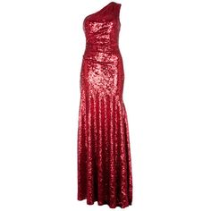 Red Sequin Full Length Cocktail Dress ($96) ❤ liked on Polyvore