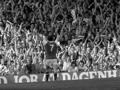 Liam Brady receives the applause from the North Bank on scoring another memorable goal.