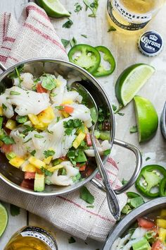 ceviche marinaded with orange and lime juice, mango and diced jalapeno ...