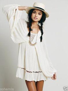 cfa0bb3f7079 FREE PEOPLE NWT Jen s Pirate Booty Gauzy Cotton Junstin Dress Ivory Sz L