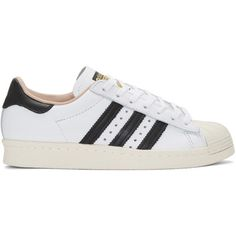 adidas Originals White Superstar 80s Sneakers (£73) ❤ liked on Polyvore featuring shoes, sneakers, white, lace up shoes, white trainers, lace up sneakers, 80s shoes and white low tops