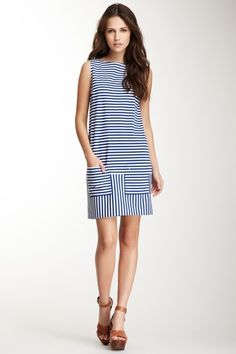 Isaac Mizrahi 2 Pocket Stripe Sleeveless Dress by High Wattage Hits on @HauteLook