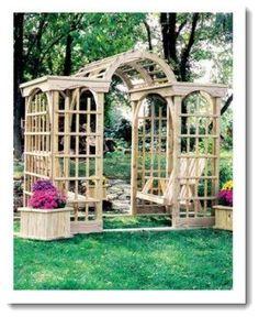 Treated Pine Imperial Arbor - Arbor Shown with optional Hooks, Seat, Swing, & Planter Cubes Backyard Swings, Patio Gazebo, Backyard Landscaping, Big Backyard, Pergola Plans, Pergola Kits, Garden Arbor, Garden Trellis, Garden Fencing