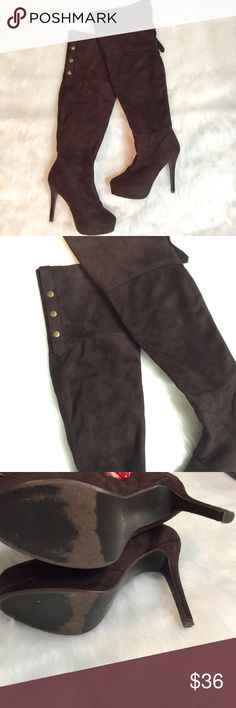 Charles David Over The Knee Boots Cute and girly Charles David heeled boots. Gently used condition with light signs of wear. Heel is about 4-5 inches. Cute buttons going down the top of the boot. Charles David Shoes Over the Knee Boots