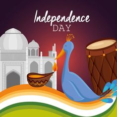 Poster of india independence day celebration Republic Day Photos, India Independence, Word Doc, Birds In Flight, Illustrations Posters, Taj Mahal, Stock Photos, Flying Birds, Illustrations_posters