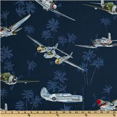 Navy planes for bedding.