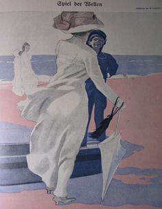 1910 Sul mare donna  spalle con ragazzo