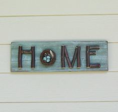 Aqua Home Sign Twig Sign Stick Letters Branches Bird by Milepost7, $48.00