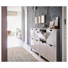 STÄLL Shoe cabinet with 4 compartments - white - IKEA - Home decor - Einrichtung Ikea Shoe Cabinet, Ikea Shoe Storage, Hallway Shoe Storage, Shoe Cabinets, Small Space Shoe Storage, Shoe Cabinet Design, Mudroom Cabinets, Hallway Cabinet, Shoe Rack Organization
