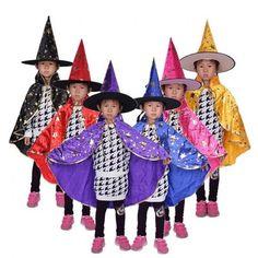 Boy Girl Kids Children Halloween Costumes Witch Wizard Cloak Gown Robe and Hat Cap Stars Fancy Cosplay for Children Boys Girls