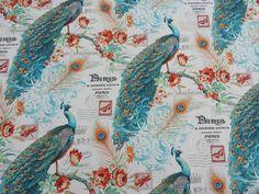 VINTAGE Peacocks, birds print upholstery cotton fabric curtains cushions FABRIC