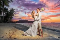 Wedding ceremony on the beach in Thailand, Koh Samui. Sunset.
