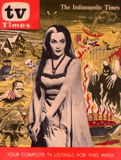 """The Indianapolis Times """"TV Times"""" Lily Munster Cover, July 1964 Munsters Tv Show, The Munsters, Frankenstein, Lily Munster, Yvonne De Carlo, Mother Images, Horror Movie Characters, Famous Monsters, Classic Horror Movies"""